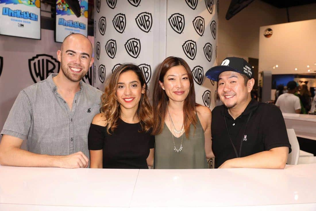 The UNIKITTY! team shares a happy moment at the Warner Bros. booth at Comic-Con 2017 on Thursday, July 20. #WBSDCC (© 2017 WBEI. All Rights Reserved)