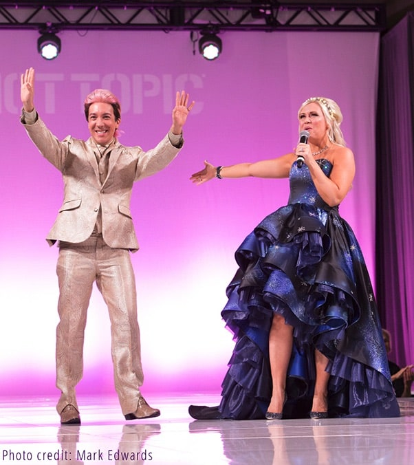 Ashley Eckstein and gown designer Andrew MacLaine