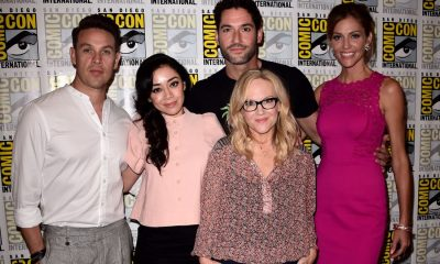 FOX FANFARE AT SAN DIEGO COMIC-CON © 2017: L-R: LUCIFER cast members Kevin Alejandro, Aimee Garcia, Tom Ellis, Rachael Harris and Tricia Helfer during the LUCIFER press room on Saturday, July 22 at the FOX FANFARE AT SAN DIEGO COMIC-CON © 2017. CR: Scott Kirkland/FOX © 2017 FOX BROADCASTING
