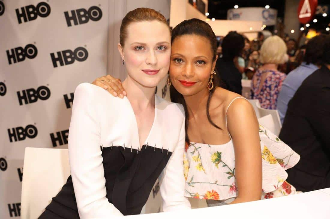 Series stars Evan Rachel Wood (left) and Thandie Newton are thrilled to meet WESTWORLD fans at the Warner Bros. booth at Comic-Con 2017 on Saturday, July 22. #WBSDCC (© 2017 WBEI. All Rights Reserved)