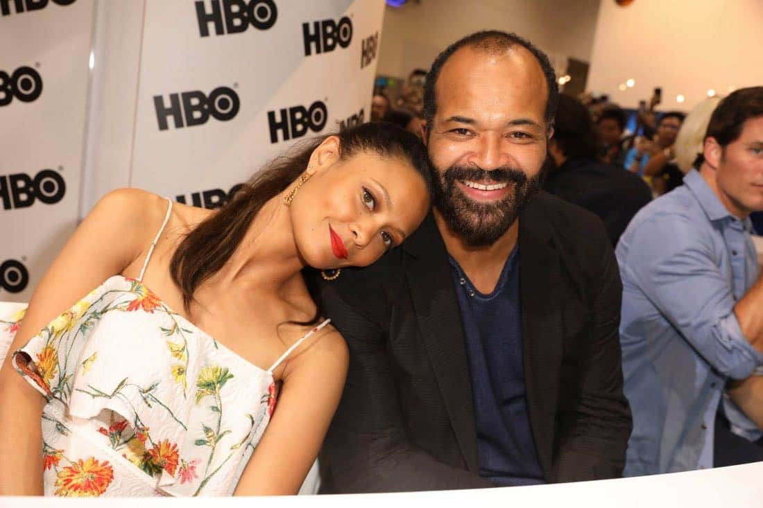WESTWORLD star Thandie Newton leans on co-star Jeffrey Wright at the Warner Bros. booth at Comic-Con 2017 on Saturday, July 22. #WBSDCC (© 2017 WBEI. All Rights Reserved)