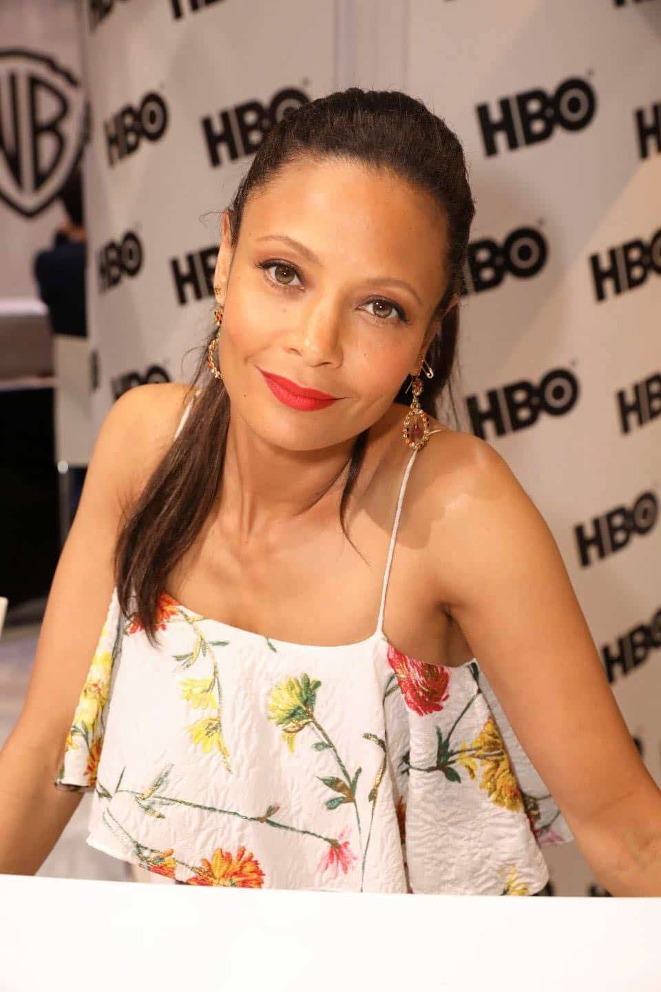 Series star Thandie Newton enjoys her time at the Warner Bros. booth at Comic-Con 2017 on Saturday, July 22. #WBSDCC (© 2017 WBEI. All Rights Reserved)