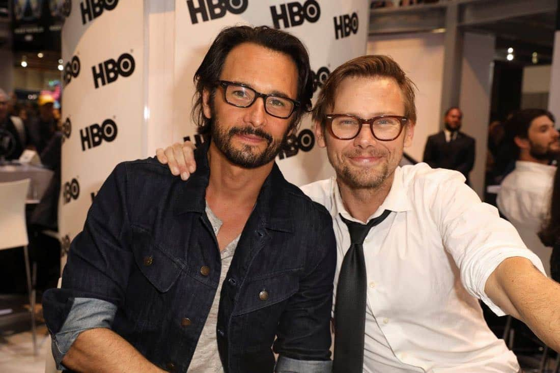 Series star Rodrigo Santoro (left) and Jimmi Simpson pose for a pic at the Warner Bros. booth at Comic-Con 2017 on Saturday, July 22. #WBSDCC (© 2017 WBEI. All Rights Reserved)