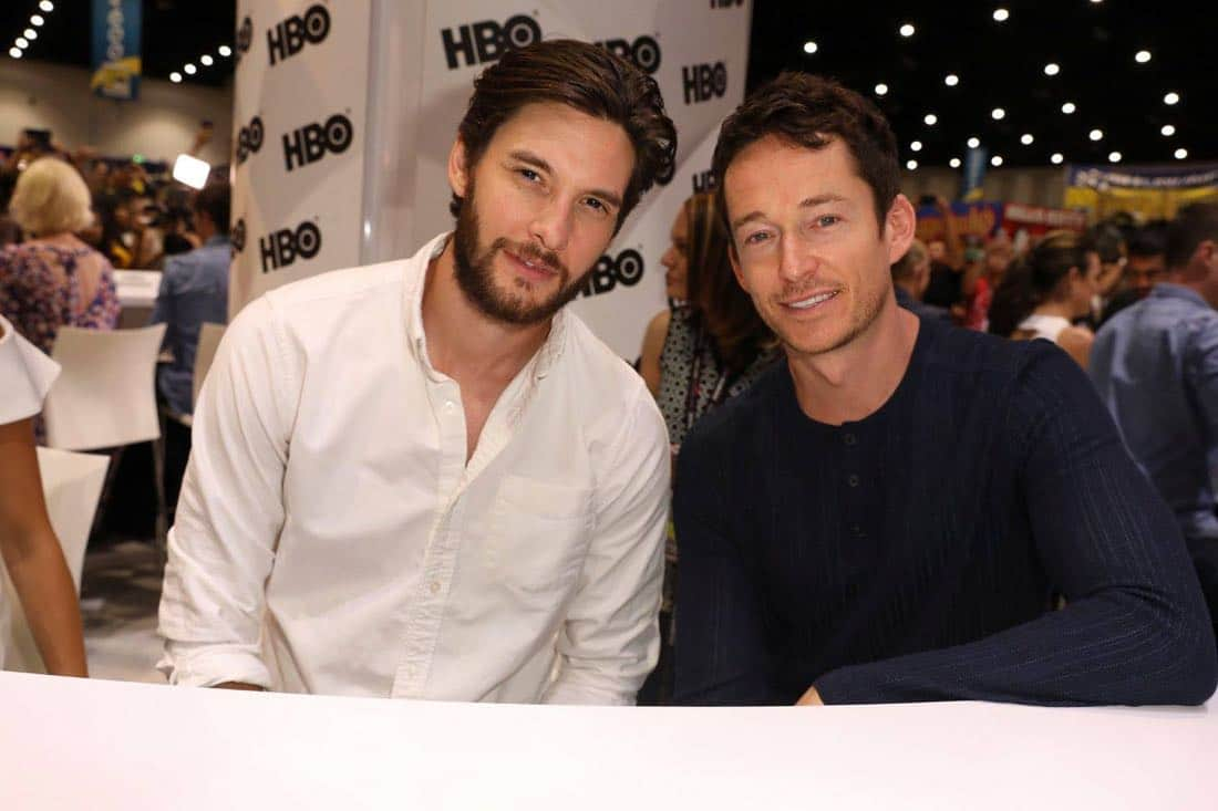 WESTWORLD star Ben Barnes teams up with series star Simon Quarterman for some fun at the Warner Bros. booth at Comic-Con 2017 on Saturday, July 22. #WBSDCC (© 2017 WBEI. All Rights Reserved)
