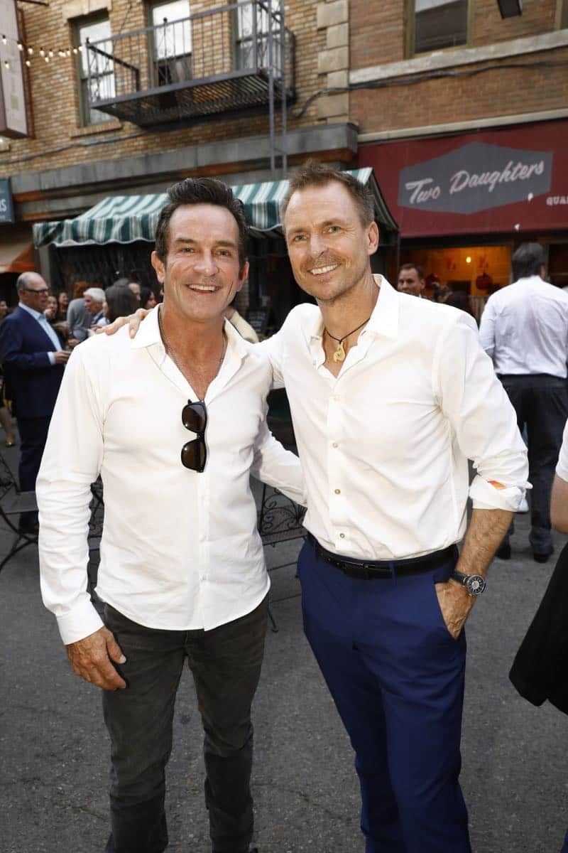 Jeff Probst of SURVIVOR and Phil Keoghan of THE AMAZING RACE pose for a photograph at the CBS Summer Soirée, held on August 1, 2017 in Los Angeles, CA. Photo: Trae Patton/CBS ©2017 Broadcasting Inc. All Rights Reserved
