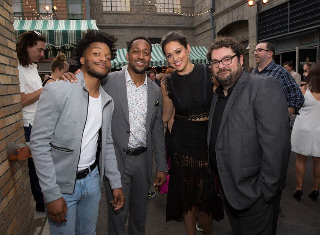 Jermaine Fowler, Jaleel White, Kelen Coleman, and Bobby Moynihan at the CBS Summer Soirée for the annual TCA press tour, held on August 1, 2017 in Los Angeles, CA. Photo: Jon Endow/CBS ©2017 Broadcasting Inc. All Rights Reserved
