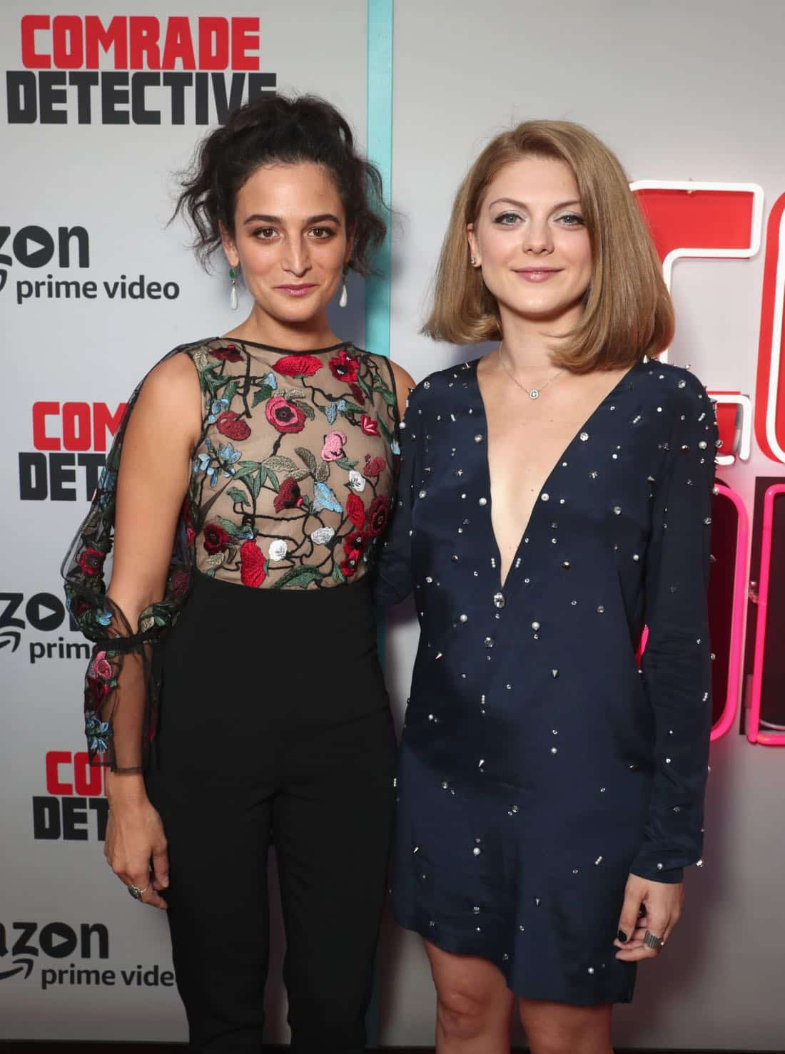 "LOS ANGELES, CA - AUGUST 03: Actors Jenny Slate (L) and Olivia Nita attend Amazon Prime Video Premiere Of Original Comedy Series ""Comrade Detective"" In Los Angeles on August 3, 2017 in Los Angeles, California. (Photo by Todd Williamson/Getty Images for Amazon Studios)"
