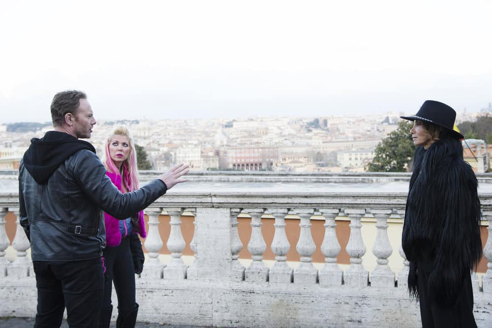 SHARKNADO 5: GLOBAL SWARMING -- Pictured: (l-r) Ian Ziering as Fin Shepard, Tara Reid as April Shepard, Downtown Julie Brown as a Vatican Consigliere -- (Photo by: Ernesto Ruscio/Syfy)