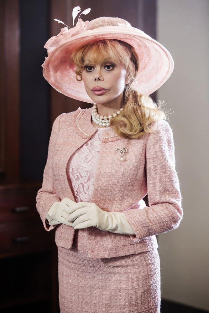 SHARKNADO 5: GLOBAL SWARMING -- Pictured: Charo as the Queen of England -- (Photo by: Dale Berman/Syfy)