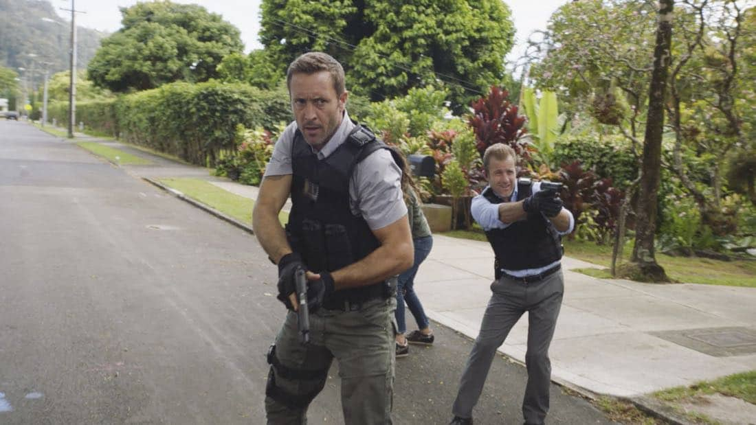 """'A'ole e 'lelo mai ana ke ahi ua ana ia"" -- McGarrett and Danny recruit Tani Rey (Meaghan Rath) to join the task force when diabolical hacker Aaron Wright (Joey Lawrence) releases a dangerous arsonist from prison, on the eighth season premiere of HAWAII FIVE-0, Friday, Sept. 29 (9:00-10:00 PM, ET/PT) on the CBS Television Network. The season premiere includes animation of one of McGarrett and Danny's infamous ""car-guements."" Also, Randy Couture returns, and Joey Lawrence joins his brother, Andrew, when he guest stars as Aaron Wright, a hacker. Pictured left to right: Alex O'Loughlin as Steve McGarrett and Scott Caan as Danny :Danno"" Williams.   Photo: Best Screen Grab Available/CBS ©2017 CBS Broadcasting, Inc. All Rights Reserved  (""'A'ole e 'lelo mai ana ke ahi ua ana ia"" is Hawaiian for ""Fire Will Never Say that It Has Had Enough"")"