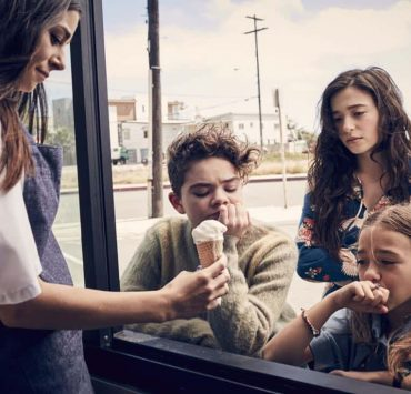 BETTER THINGS -- Pictured: (from center- left) Hannah Alligood as Frankie, Mikey Madison as Max, Olivia Edward as Duke. CR: Pamela Littky/FX