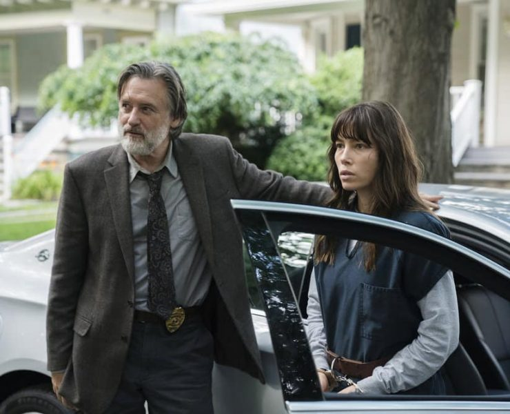 "THE SINNER -- ""Part VI"" Episode 106 -- Pictured: (l-r) Bill Pullman as Harry Ambrose, Jessica Biel as Cora Tannetti -- (Photo by: Peter Kramer/USA Network)"
