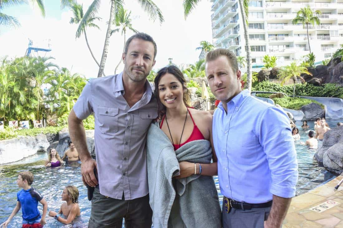 """'A'ole e '?lelo mai ana ke ahi ua ana ia"" -- McGarrett and Danny recruit Tani Rey (Meaghan Rath) to join the task force when diabolical hacker Aaron Wright (Joey Lawrence) releases a dangerous arsonist from prison, on the eighth season premiere of HAWAII FIVE-0, Friday, Sept. 29 (9:00-10:00 PM, ET/PT) on the CBS Television Network. The season premiere includes animation of one of McGarrett and Danny's infamous ""car-guements."" Also, Randy Couture returns, and Joey Lawrence joins his brother, Andrew, when he guest stars as Aaron Wright, a hacker. Pictured left to right: Alex O'Loughlin as Steve MCGarrett, Meaghan Rath as Tani Rey and Scott Caan as Danny ""Danno"" Williams. Photo credit: Norman Shapiro/©2017 CBS Broadcasting, Inc. All Rights Reserved. (""'A'ole e '?lelo mai ana ke ahi ua ana ia"" is Hawaiian for ""Fire Will Never Say that It Has Had Enough"")"