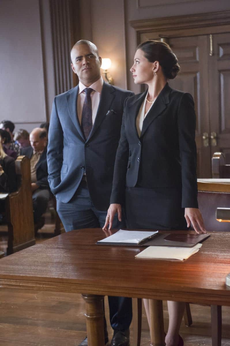 """""""School for Scandal""""-- When Bull joins the district attorney in a case against Kara Clayton (Minka Kelly), who claims she killed her billionaire husband in self-defense, tensions run high when he learns that his on-again, off-again romantic rival, Diana Lindsay (Jill Flint), is defending the widow. Also, Chunk makes a decision about his future, on the second season premiere of BULL, Tuesday, Sept. 26 (9:00-10:00 PM, ET/PT) on the CBS Television Network. Pictured L-R: Chris Jackson as Chunk Palmer and Jill Flint as Diana Lindsay Photo: Jeffrey Neira/CBS ©2017 CBS Broadcasting, Inc. All Rights Reserved"""