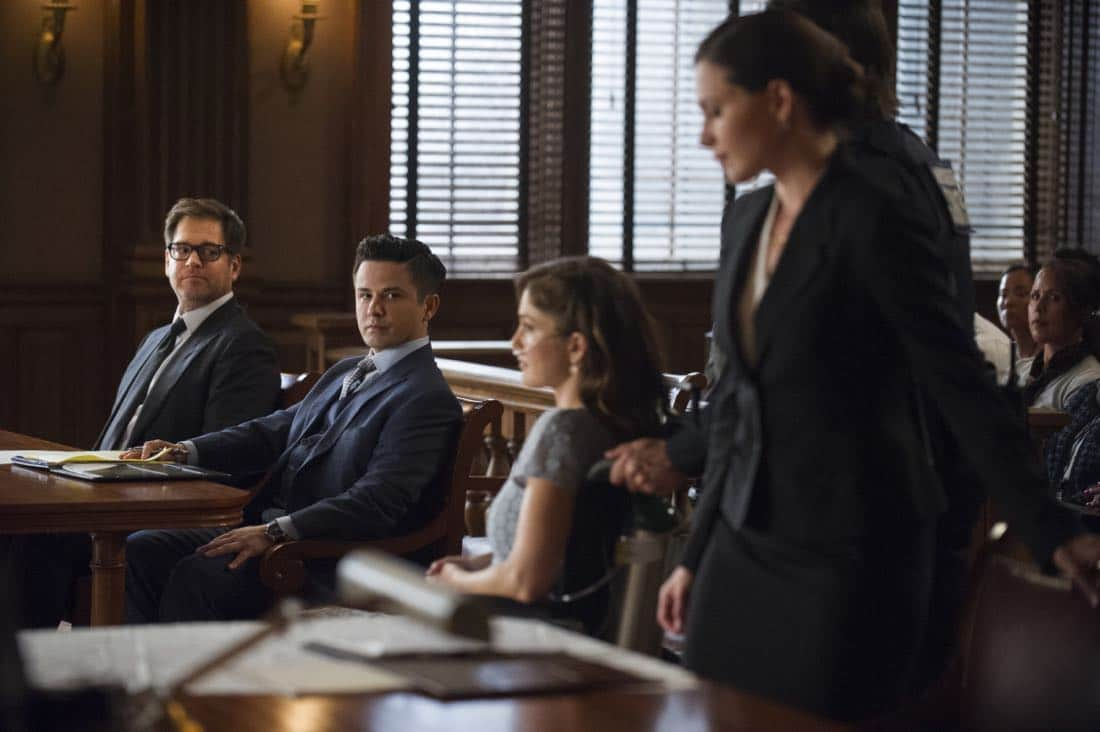 """""""School for Scandal""""-- When Bull joins the district attorney in a case against Kara Clayton (Minka Kelly), who claims she killed her billionaire husband in self-defense, tensions run high when he learns that his on-again, off-again romantic rival, Diana Lindsay (Jill Flint), is defending the widow. Also, Chunk makes a decision about his future, on the second season premiere of BULL, Tuesday, Sept. 26 (9:00-10:00 PM, ET/PT) on the CBS Television Network. Pictured L-R: Michael Weatherly as Dr. Jason Bull, Freddy Rodriguez as Benny Colón, Minka Kelly as Kara Clayton, and Jill Flint as Diana Lindsay Photo: Jeffrey Neira/CBS ©2017 CBS Broadcasting, Inc. All Rights Reserved"""