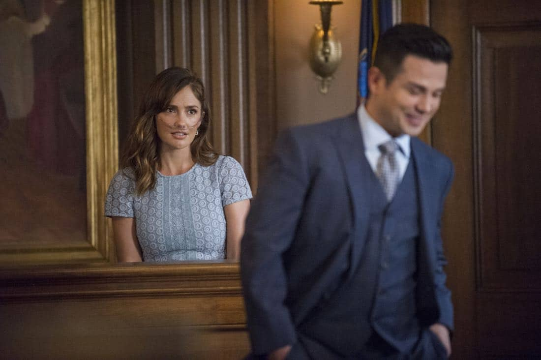 """""""School for Scandal""""-- When Bull joins the district attorney in a case against Kara Clayton (Minka Kelly), who claims she killed her billionaire husband in self-defense, tensions run high when he learns that his on-again, off-again romantic rival, Diana Lindsay (Jill Flint), is defending the widow. Also, Chunk makes a decision about his future, on the second season premiere of BULL, Tuesday, Sept. 26 (9:00-10:00 PM, ET/PT) on the CBS Television Network. Minka Kelly as Kara Clayton and Freddy Rodriguez as Benny Colón Photo: Jeffrey Neira/CBS ©2017 CBS Broadcasting, Inc. All Rights Reserved"""