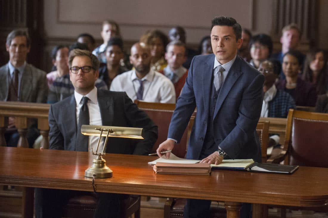 """""""School for Scandal""""-- When Bull joins the district attorney in a case against Kara Clayton (Minka Kelly), who claims she killed her billionaire husband in self-defense, tensions run high when he learns that his on-again, off-again romantic rival, Diana Lindsay (Jill Flint), is defending the widow. Also, Chunk makes a decision about his future, on the second season premiere of BULL, Tuesday, Sept. 26 (9:00-10:00 PM, ET/PT) on the CBS Television Network. Pictured L-R: Michael Weatherly as Dr. Jason Bull and Freddy Rodriguez as Benny Colón Photo: Jeffrey Neira/CBS ©2017 CBS Broadcasting, Inc. All Rights Reserved"""