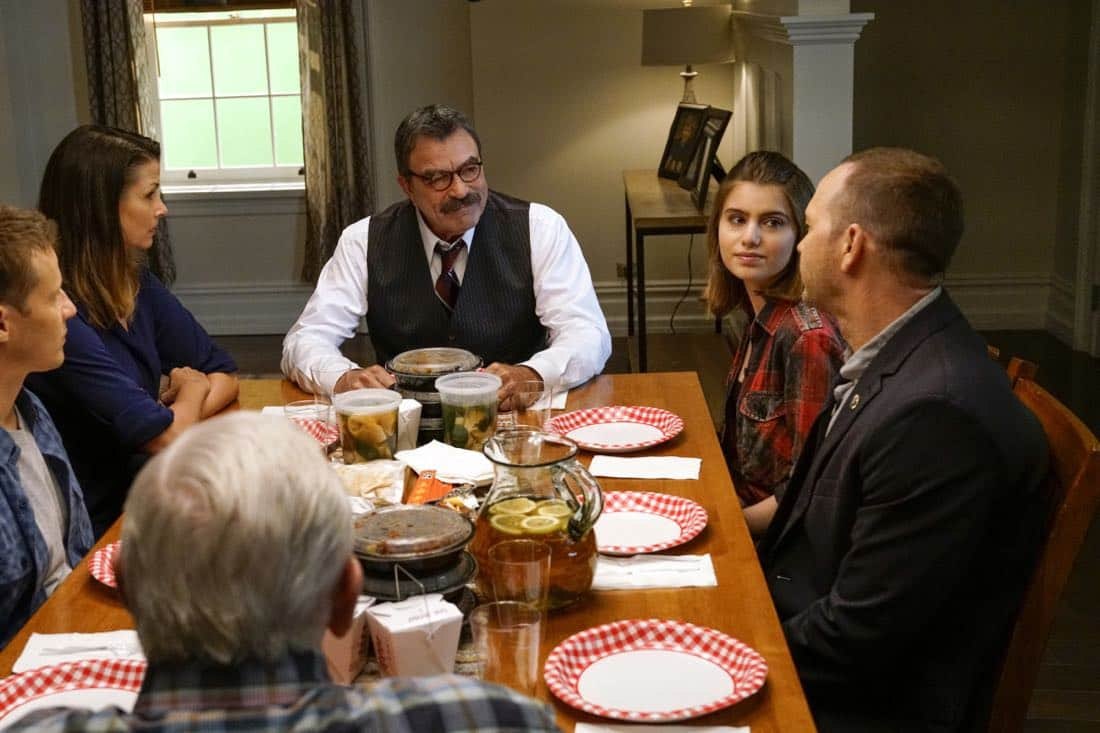 """Cutting Losses"" -- Danny contemplates retiring until Erin enlists him to help her with a case involving her ex-husband, Jack (Peter Hermann). Also, Jamie and Eddie go undercover as a couple, and Frank butts heads with the new mayor of New York City, Margaret Dutton (Lorraine Bracco), on the eighth season premiere of BLUE BLOODS, Friday, Sept. 29 (10:00-11:00 PM, ET/PT) on the CBS Television Network. Pictured: Will Estes, Bridget Moynihan, Tom Selleck, Sami Gayle, Donnie Wahlberg, Len Cariou. Photo: John Paul Filo/CBS ©2017CBS Broadcasting Inc. All Rights Reserved."