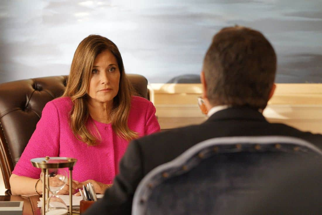 """Cutting Losses"" -- Danny contemplates retiring until Erin enlists him to help her with a case involving her ex-husband, Jack (Peter Hermann). Also, Jamie and Eddie go undercover as a couple, and Frank butts heads with the new mayor of New York City, Margaret Dutton (Lorraine Bracco), on the eighth season premiere of BLUE BLOODS, Friday, Sept. 29 (10:00-11:00 PM, ET/PT) on the CBS Television Network. Pictured: Lorraine Bracco guest stars as the new Mayor Margaret Dutton, Tom Selleck as Frank Reagan. Photo: John Paul Filo/CBS ©2017CBS Broadcasting Inc. All Rights Reserved."