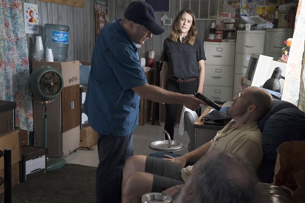 "THE BLACKLIST -- ""Smokey Putnam (#30)"" Episode 501 -- Pictured: (l-r) James Spader as Raymond ""Red"" Reddington, Megan Boone as Elizabeth Keen -- (Photo by Virginia Sherwood/NBC)"