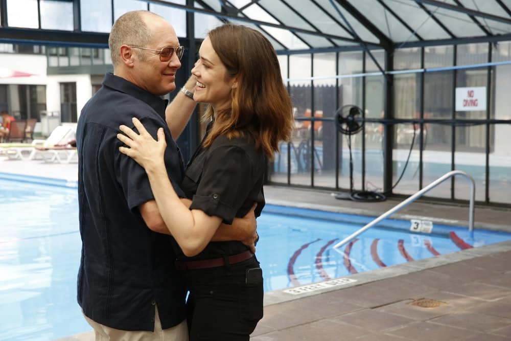 "THE BLACKLIST -- ""Smokey Putnam (#30)"" Episode 501 -- Pictured: (l-r) James Spader as Raymond ""Red"" Reddington, Megan Boone as Elizabeth Keen -- (Photo by Will Hart/NBC)"
