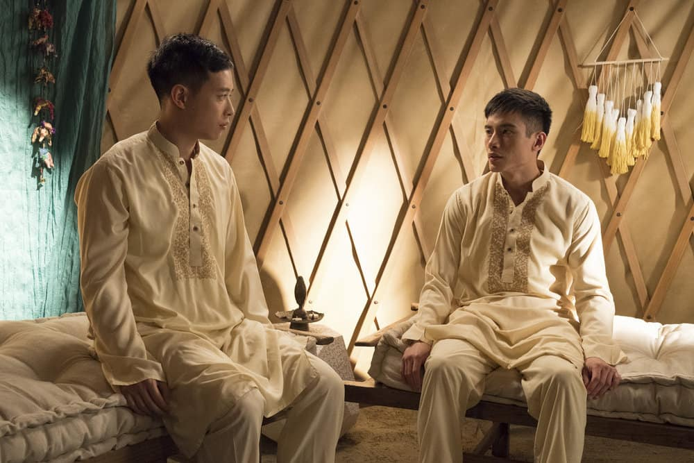 """THE GOOD PLACE -- """"Everything is Great!"""" Episode 201 -- Pictured: (l-r) Hayden Szeto as Luang, Manny Jacinto as Jianyu -- (Photo by: Colleen Hayes/NBC)"""