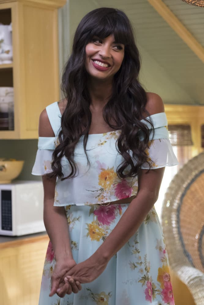 """THE GOOD PLACE -- """"Everything is Great!"""" Episode 201 -- Pictured: Jameela Jamil as Tehani -- (Photo by: Colleen Hayes/NBC)"""