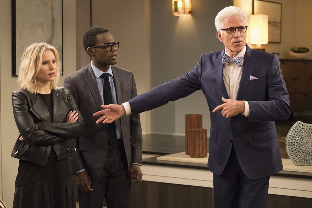 """THE GOOD PLACE -- """"Everything is Great!"""" Episode 201 -- Pictured: (l-r) Kristen Bell as Eleanor, William Jackson Harper as Chidi, Ted Danson as Michael -- (Photo by: Colleen Hayes/NBC)"""