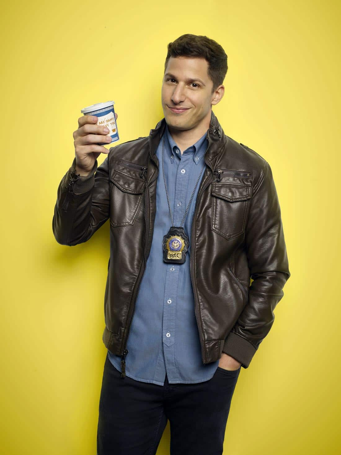 BROOKLYN NINE-NINE: Andy Samberg as Detective Jake Peralta. BROOKLYN NINE-NINE Season Five premieres Tuesday, Sept. 26 (9:30-10:00 PM ET/PT) on FOX. ©2017 Fox Broadcasting Co. CR: Robert Trachtenberg/FOX