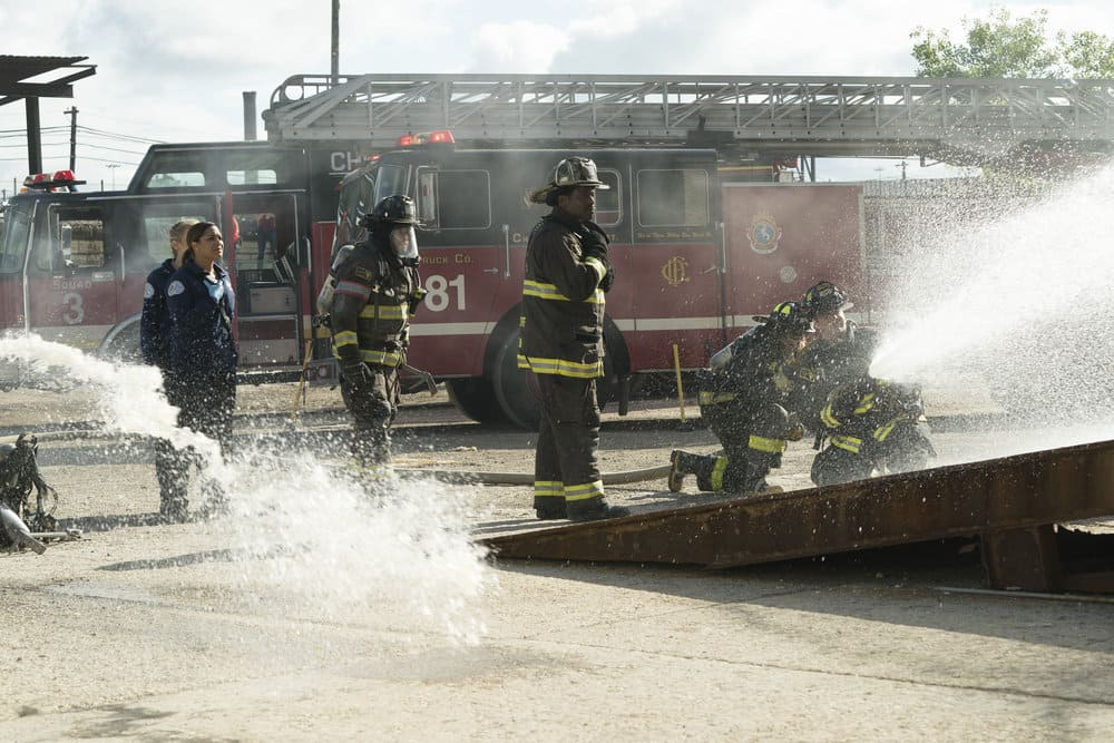 "CHICAGO FIRE -- ""It Wasn't Enough"" Episode 601 -- Pictured: (l-r) Kara Kilmer as Sylvie Brett, Monica Raymund as Gabriela Dawson, Joe Minoso as Cruz, Eamonn Walker as Wallace Boden -- (Photo by: Elizabeth Morris/NBC)"