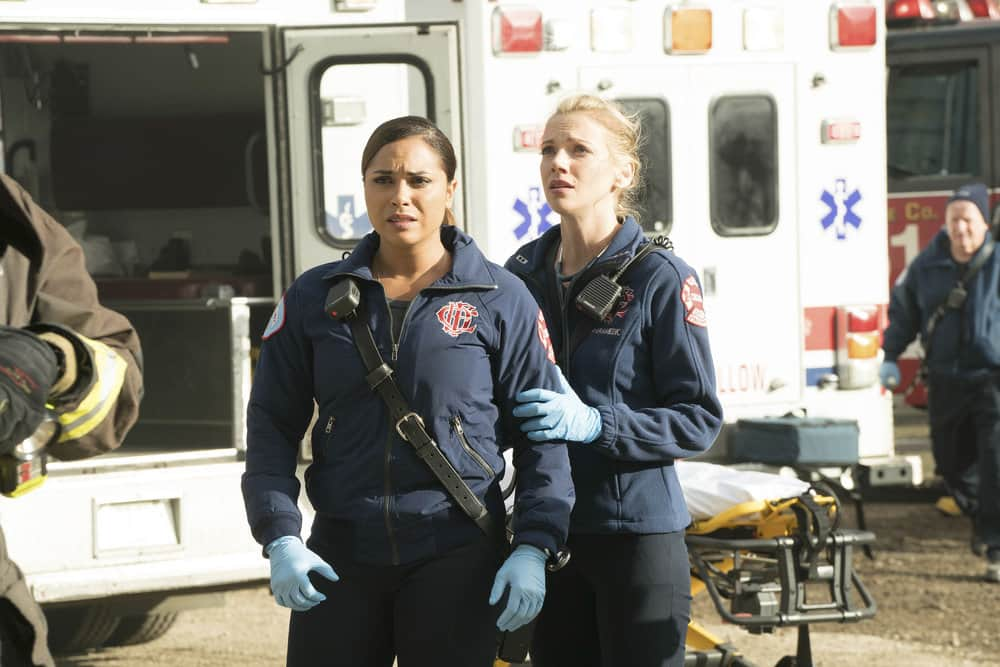 "CHICAGO FIRE -- ""It Wasn't Enough"" Episode 601 -- Pictured: (l-r) Monica Raymund as Gabriela Dawson, Kara Killmer as Sylvie Brett -- (Photo by: Elizabeth Morris/NBC)"