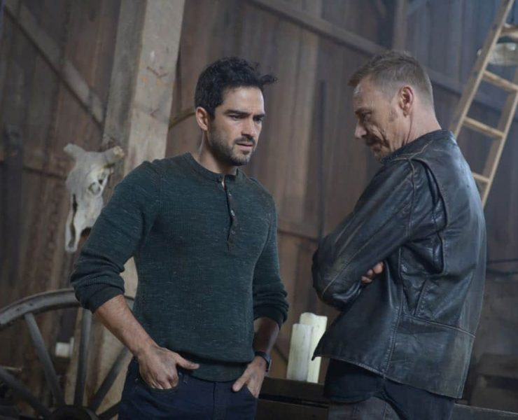 """THE EXORCIST: L-R: Alfonso Herrera and Ben Daniels in the """"Janus"""" season premiere episode of THE EXORCIST airing Friday, Sept. 29 (9:00-10:00 PM ET/PT) on FOX. ©Fox Broadcasting Co. Cr: Sergei Bachlakov/FOX"""