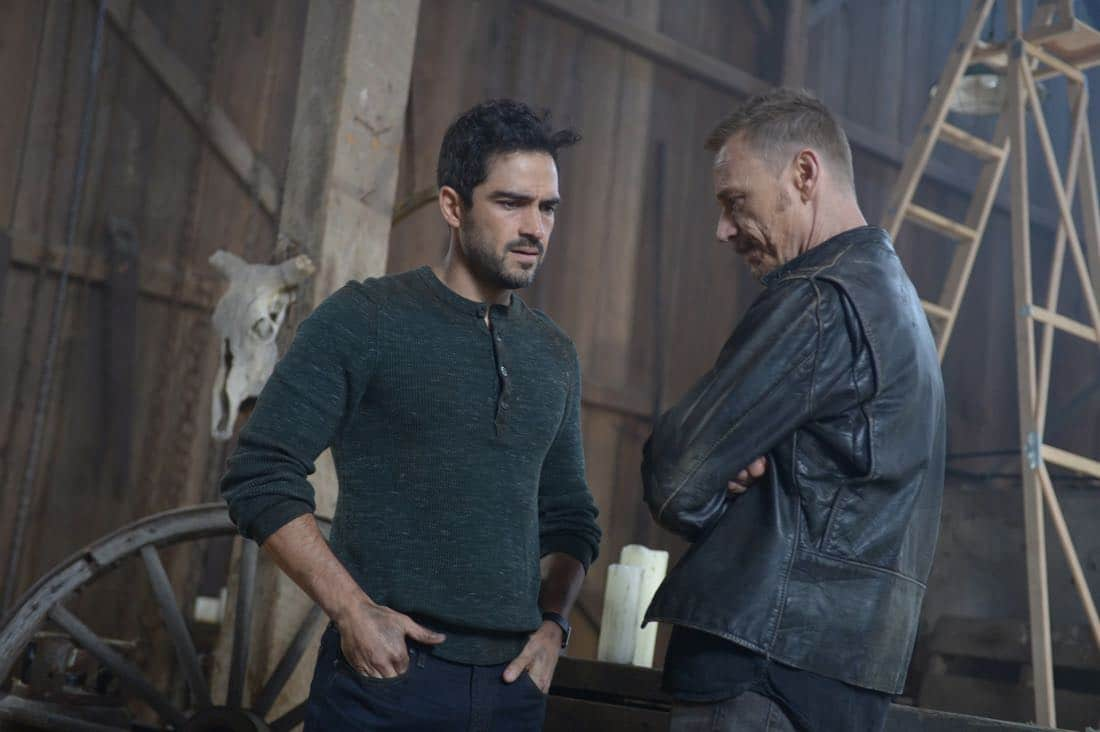 "THE EXORCIST: L-R: Alfonso Herrera and Ben Daniels in the ""Janus"" season premiere episode of THE EXORCIST airing Friday, Sept. 29 (9:00-10:00 PM ET/PT) on FOX. ©Fox Broadcasting Co. Cr: Sergei Bachlakov/FOX"