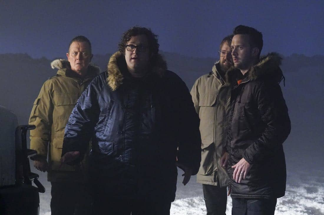 """More Extinction"" -- Team Scorpion continues to work with their nemesis, Mark Collins, in order to prevent an extinction event that could end humanity. Also, Cabe's last-minute decision while on the case leads to the possible end of his career, on SCORPION, Monday, Oct. 2 (10:00-11:00 PM, ET/PT) on the CBS Television Network. Josh Leonard returns as Mark Collins. Pictured: Robert Patrick, Ari Stidham, Josh Leonard, Eddie Kaye Thomas. Photo: Monty Brinton/CBS ©2017 CBS Broadcasting, Inc. All Rights Reserved"