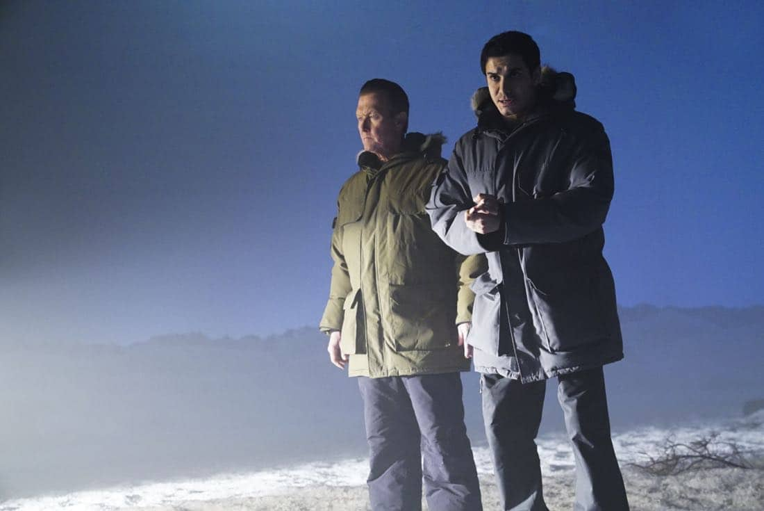 """More Extinction"" -- Team Scorpion continues to work with their nemesis, Mark Collins, in order to prevent an extinction event that could end humanity. Also, Cabe's last-minute decision while on the case leads to the possible end of his career, on SCORPION, Monday, Oct. 2 (10:00-11:00 PM, ET/PT) on the CBS Television Network. Josh Leonard returns as Mark Collins. Pictured: Robert Patrick, Elyes Gabel.  Photo: Monty Brinton/CBS ©2017 CBS Broadcasting, Inc. All Rights Reserved"