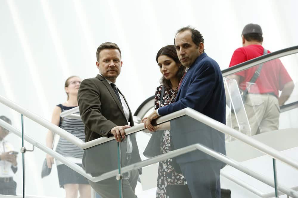 "LAW & ORDER: SPECIAL VICTIMS UNIT -- ""Gone Fishin'"" Episode 1901 -- Pictured: (l-R) Will Chase as Byron T. Marks, Mariela Garriga as Elana Marks, Peter Jacobson as Randolph ""Randy"" J. Dworkin, Esq. -- (Photo by: Will Hart/NBC)"