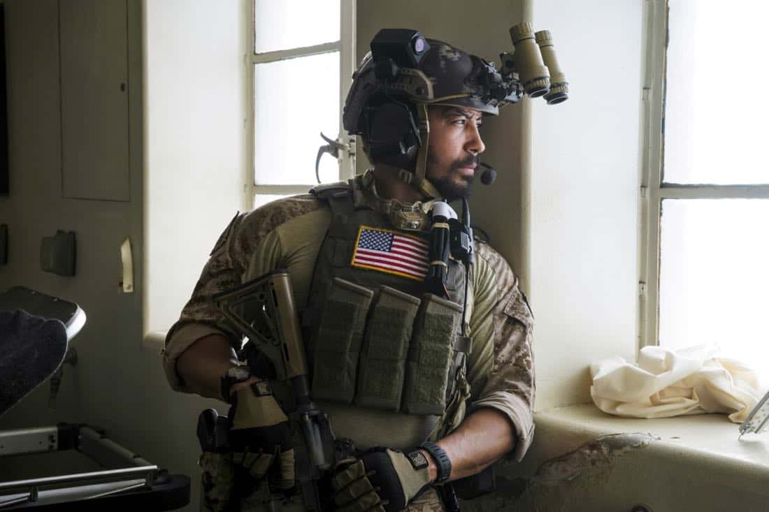 """""""Other Lives"""" -- While on an evidence-collecting mission in Syria, Jason and the SEAL Team find innocent civilians in desperate need of rescue just as enemy forces close in on them. Also, while on the mission, the team debates whether or not to tell Ray that his wife has gone into labor, on SEAL TEAM, Wednesday, Oct. 4 (9:00-10:00 PM, ET/PT) on the CBS Television Network. Pictured: Neil brown Jr. as Ray.   Photo: Erik Voake/CBS©2017 CBS Broadcasting, Inc. All Rights Reserved"""