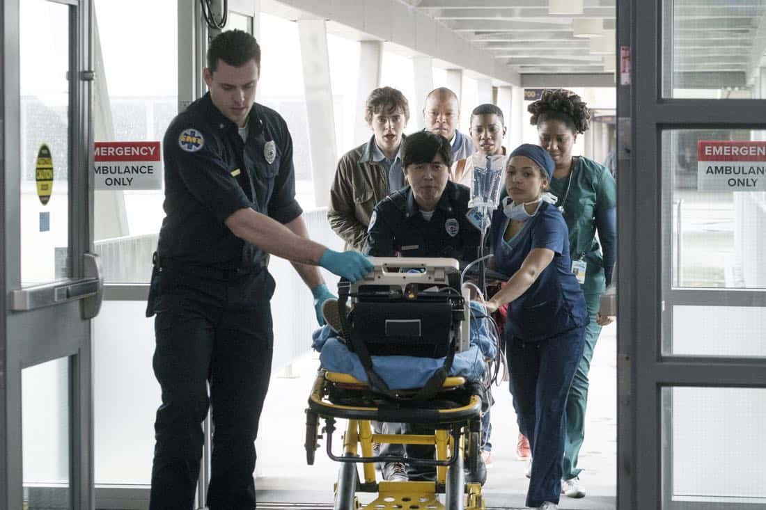 """THE GOOD DOCTOR - """"PILOT - Burnt Food"""" - Dr. Shaun Murphy (Freddie Highmore), a young surgeon with autism and savant syndrome, relocates from a quiet country life to join the prestigious St. Bonaventure hospital's surgical unit. Alone in the world and unable to personally connect with those around him, his only advocate, Dr. Aaron Glassman (Richard Schiff), challenges the skepticism and prejudices of the hospital's board and staff when he brings him in to join the team. Shaun will need to work harder than he ever has before, as he navigates his new environment and relationships to prove to his colleagues that his extraordinary medical gifts will save lives. The highly anticipated series premiere of """"The Good Doctor"""" airs MONDAY, SEPTEMBER 25 (10:01-11:00 p.m. EDT), on The ABC Television Network. (ABC/Liane Hentscher) FREDDIE HIGHMORE, ANTONIA THOMAS"""