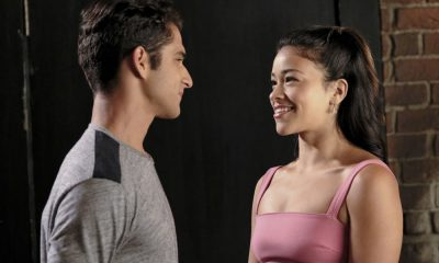 """Jane The Virgin -- """"Chapter Sixty-Five"""" -- Image Number: JAV401b_0207.jpg -- Pictured (L-R): Tyler Posey as Adam and Gina Rodriguez as Jane -- Photo: Michael Desmond/The CW -- © 2017 The CW Network, LLC. All Rights Reserved."""