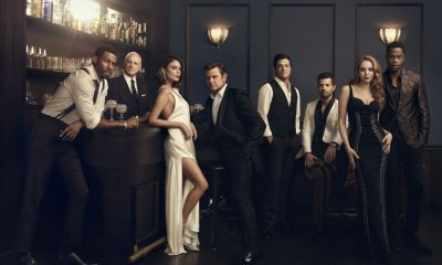 Dynasty -- Image Number: DYN1_Group_0515.jpg -- Pictured (L-R): Robert Christopher Riley as Michael Culhane, Alan Dale as Joseph Anders, Nathalie Kelley as Cristal Flores, Grant Show as Blake Carrington, James Mackay as Steven Carrington, Rafael de la Fuente as Sam 'Sammy Jo' Flores, Elizabeth Gillies as Fallon Carrington and Sam Adegoke as Jeff Colby -- Photo: Art Streiber/The CW -- © 2017 The CW Network, LLC. All Rights Reserved.