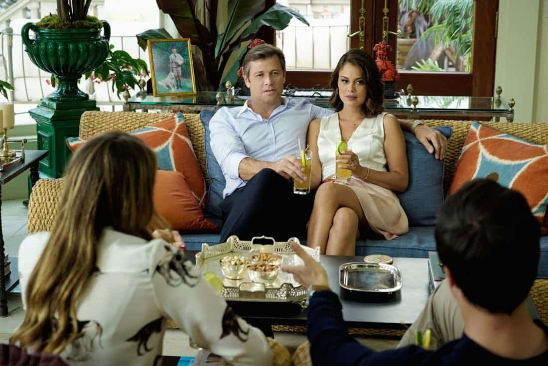 "Dynasty -- ""Pilot"" Pictured (L-R): Grant Show as Blake and Nathalie Kelley as Cristal -- Photo: Jace Downs/The CW -- © 2017 The CW Network, LLC. All Rights Reserved."