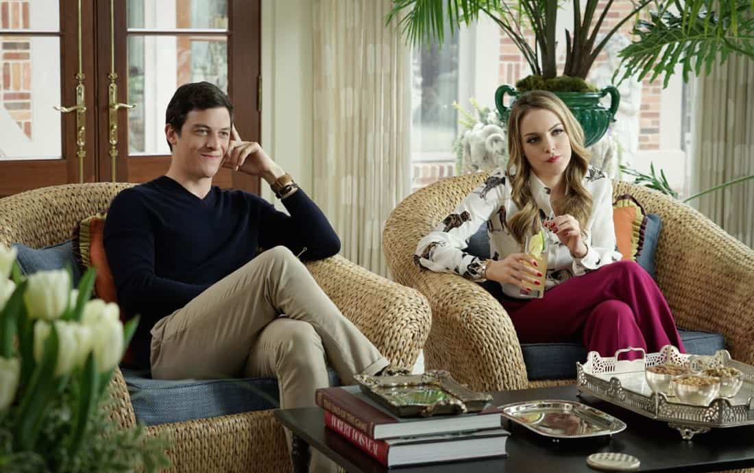 "Dynasty -- ""Pilot"" Pictured (L-R): James Mackay as Steven and Elizabeth Gillies as Fallon -- Photo: Jace Downs/The CW -- © 2017 The CW Network, LLC. All Rights Reserved."
