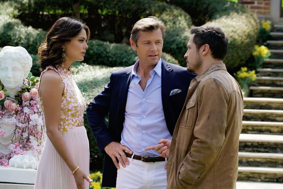 "Dynasty -- ""Pilot""  -- Pictured (L-R): Nathalie Kelley as Cristal, Grant Show as Blake and Nick Wechsler as Matthew -- Photo: Jace Downs/The CW © 2017 The CW Network, LLC. All Rights Reserved."