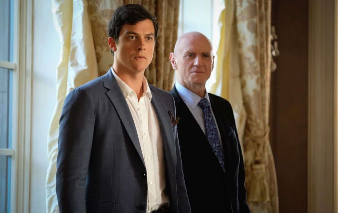 "Dynasty -- ""Pilot""- Pictured (L-R): James Mackay as Steven and Alan Dale as Anders -- Photo: Mark Hill/The CW © 2017 The CW Network, LLC. All Rights Reserved."