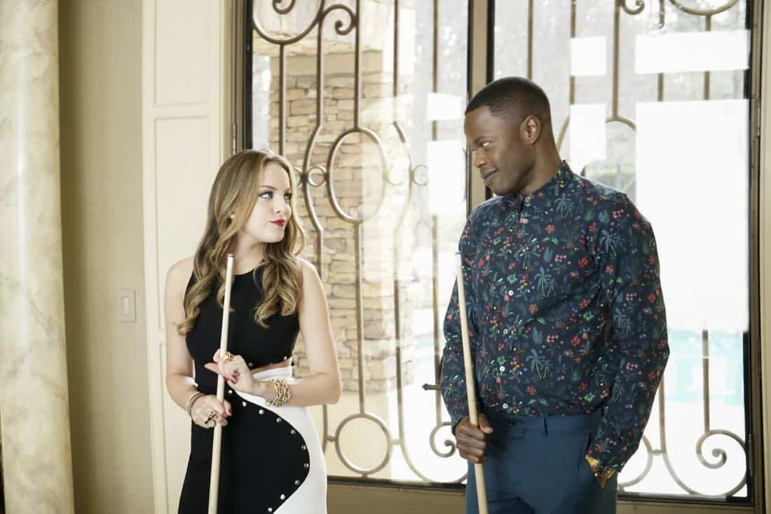 "Dynasty -- ""Pilot""  -- Pictured (L-R): Elizabeth Gillies as Fallon and Sam Adegoke as Jeff -- Photo: Jace Downs/The CW © 2017 The CW Network, LLC. All Rights Reserved."