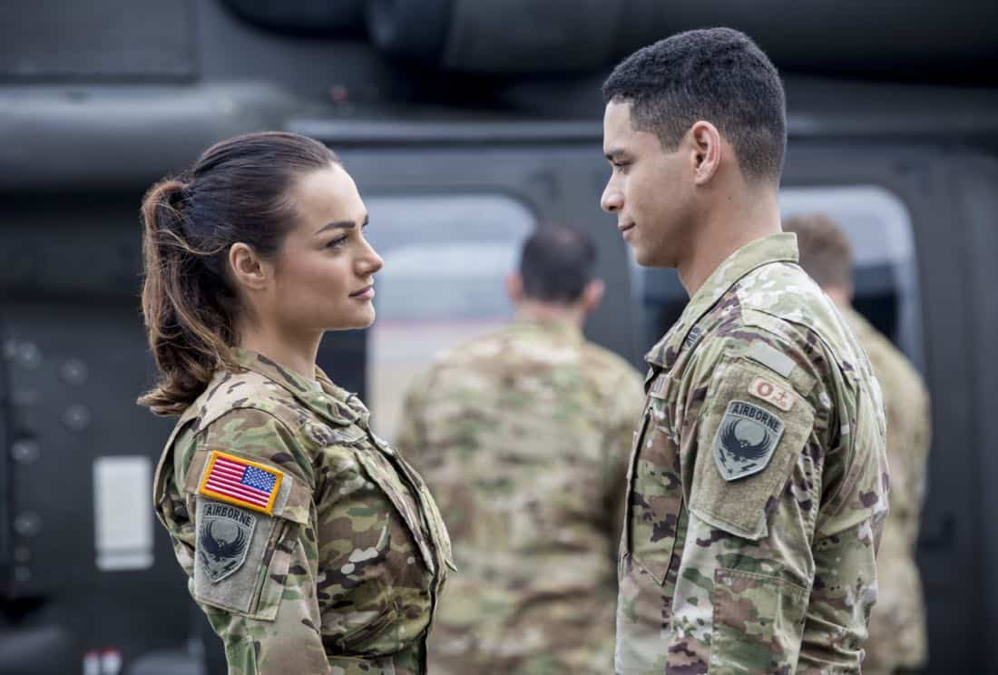 """Valor -- """"Pilot""""-- Pictured (L-R): Christina Ochoa as Nora and Charlie Barnett as Ian -- Photo: Erika Doss/The CW © 2017 The CW Network, LLC. All Rights Reserved."""
