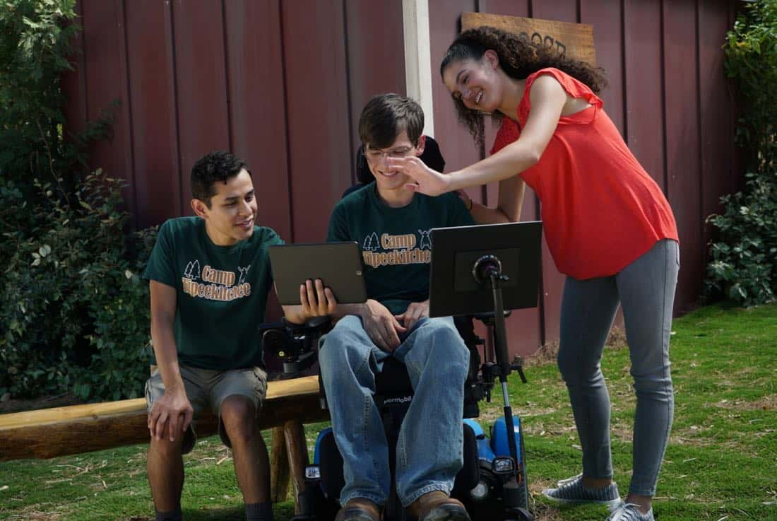 "SPEECHLESS - ""W-E-- WE'RE B-A-- BACK!"" - While JJ was at summer camp, Maya decided it's time the family no longer use JJ's disability as an excuse to let their lives fall through the cracks. Maya, Jimmy and Dylan make dramatic changes, but a smug Ray decides he will spend the summer watching his family likely failing at their attempts. When JJ comes home, Kenneth finds a love note in JJ's luggage from Alexa (guest star Rose Crisman), a girl he met at camp, who wants to give JJ his first kiss. The family chucks their self-improvement projects and hits the road to find Alexa, on the season premiere of ""Speechless,"" WEDNESDAY, SEPTEMBER 27 (8:30-9:00 p.m. EDT), on The ABC Television Network. (ABC/Richard Cartwright) RUDY MARTINEZ, MICAH FOWLER, ROSE CRISMAN"