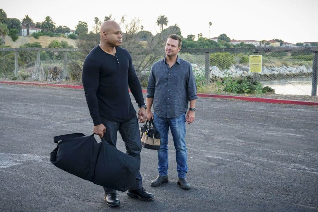 """""""Assets"""" -- Pictured: LL COOL J (Special Agent Sam Hanna) and Chris O'Donnell (Special Agent G. Callen). During the murder investigation of a Navy Lieutenant on leave in Los Angeles, the NCIS team uncovers classified surveillance briefs she smuggled into the city that may have been sold to a foreign buyer, on NCIS: LOS ANGELES, Sunday, Oct. 8 (9:00-10:00 PM, ET/PT) on the CBS Television Network. Photo: Monty Brinton/CBS ©2017 CBS Broadcasting, Inc. All Rights Reserved."""