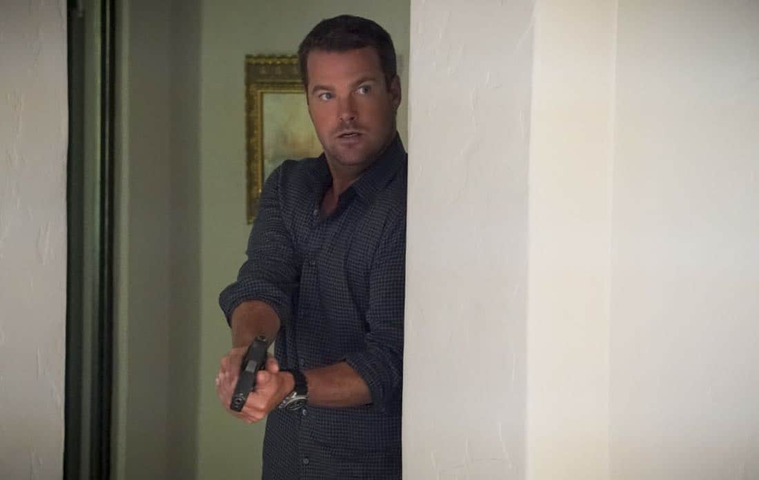 """""""Assets"""" -- Pictured: Chris O'Donnell (Special Agent G. Callen). During the murder investigation of a Navy Lieutenant on leave in Los Angeles, the NCIS team uncovers classified surveillance briefs she smuggled into the city that may have been sold to a foreign buyer, on NCIS: LOS ANGELES, Sunday, Oct. 8 (9:00-10:00 PM, ET/PT) on the CBS Television Network. Photo: Bill Inoshita/CBS ©2017 CBS Broadcasting, Inc. All Rights Reserved."""