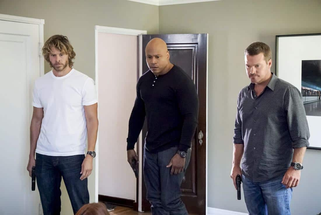 """""""Assets"""" -- Pictured: Eric Christian Olsen (LAPD Liaison Marty Deeks), LL COOL J (Special Agent Sam Hanna) and Chris O'Donnell (Special Agent G. Callen). During the murder investigation of a Navy Lieutenant on leave in Los Angeles, the NCIS team uncovers classified surveillance briefs she smuggled into the city that may have been sold to a foreign buyer, on NCIS: LOS ANGELES, Sunday, Oct. 8 (9:00-10:00 PM, ET/PT) on the CBS Television Network. Photo: Bill Inoshita/CBS ©2017 CBS Broadcasting, Inc. All Rights Reserved."""